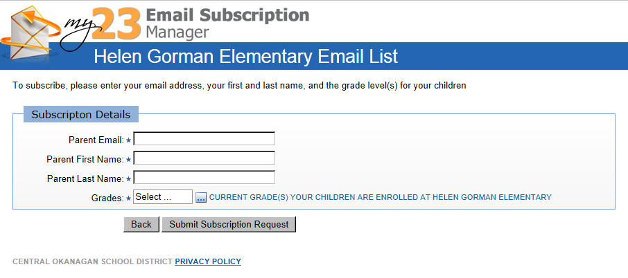 Join the Helen Gorman Email List